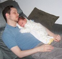 Chris and his son sleeping